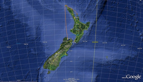 trasa Katharsis II z Auckland do Zatoki Tasmana
