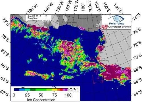 Stan lodu w Morzu Rossa na koniec stycznia 2015