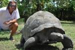 Mariusz z żółwiem Esmeralda, gigantem z Bird Island